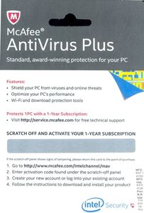 McAfee Antivirus Plus 2014 1 PC 1 Year (Activation Card) Price in India