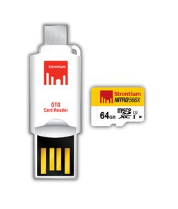 Strontium Nitro 566x 64GB MicroSDXC Class 10 (85MB/s) Memory Card (With OTG Card Reader) Price in India