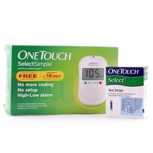 Johnson and Johnson One Touch Select Simple Glucometer Kit (With 10 Strips) Price in India