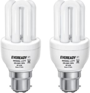 Eveready Mini 8 Watt CFL Bulb (White and Pack of 2) Price in India
