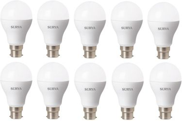 Surya B23D 630 Lumens 7 W LED Bulb (White, Pack of 10) Price in India