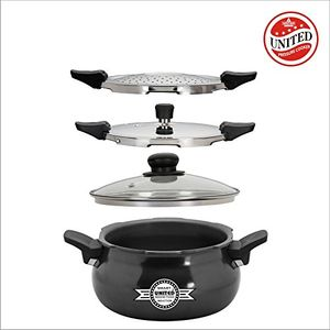 United Smart 3 in 1 Hard Anodised 3 L Cooker (Cooker, Strainer & Server) Price in India