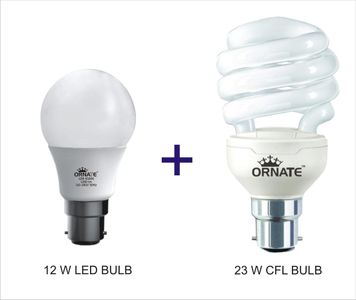 Ornate Combo Of 12W LED Bulb And 23W CFL Bulb (White) Price in India