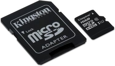 Kingston 16GB MicroSDHC Class 10 (80MB/s) Memory Card (With Adapter) Price in India