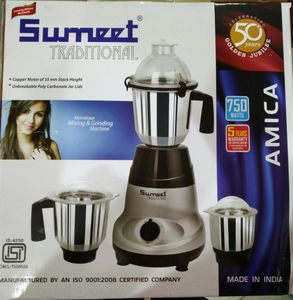 Sumeet Traditional Amica 750W Mixer Grinder (3 Jars) Price in India