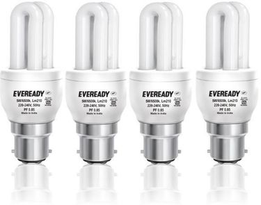 Eveready 5W B22 Mini CFL Bulb (White, Pack of 4) Price in India