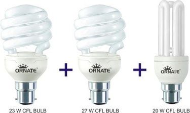 Ornate 20W, 23W And 27W B22 CFL Bulb Combo (White) Price in India