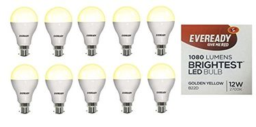 Eveready 12W B22D LED Bulb (Golden Yellow, Pack Of 10) Price in India