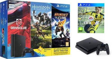 Sony PS4 Slim 500GB Ultimate Player Edition(With FIFA 17,Horizon Zero Dawn,Drive Club and Ratchet & Clank) Price in India