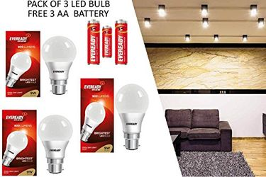 Eveready 9W B22 900L LED Bulb (White,Pack of 3) with 3-1015 AA Batteries Price in India