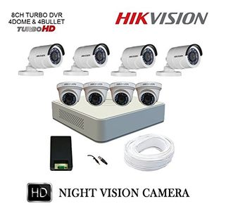 Hikvision DS-7108HQHI-F1 8CH Turbo Dvr, 4 ( DS-2CE56DOT-IRP) Dome, 4(DS-2CE16DOT-IRP) Bullet Camera (With Accessories) Price in India