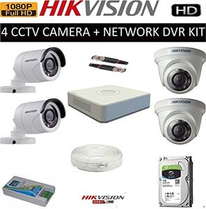 Hikvision (DS-6004HQHI-K1) 4CH DVR,2(DS-2CE5ADOT-IRPF) Dome Camera,2(DS-2CE1ADOT-IRPF) Bullet Camera (1TB HDD, With Accessories) Price in India