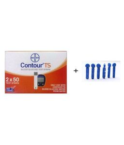 Bayer Contour TS Test Strips (50 Strips, Pack of 2) And Lancets (100) Price in India