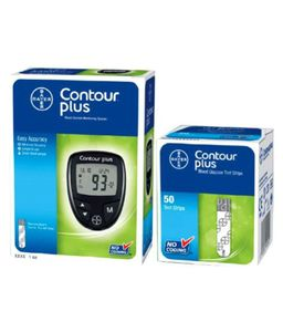 Bayer Contour Plus Glucometer With (50 Strips) And Lancets (100) Price in India
