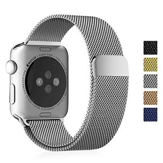Apple  Watch Band, [Unique Magnet Lock] Fintie 42mm Milanese Loop Stainless Steel Bracelet Smart Watch Strap for Apple Watch 42mm All Models, No Buckle Needed - SILVER Price in India