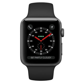 Apple Watch Series 3 GPS Space Gray Aluminum Case with Black Sport Band 42 mm Price in India