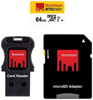 Strontium Nitro 566x 64GB MicroSDXC Class 10 (85MB/s) MemoryCard (With Card Reader & Adapter) Price in India