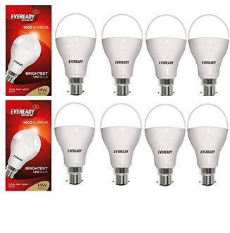 Eveready 14W LED Bulbs (White, Pack of 8) Price in India