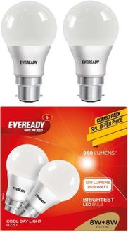 Eveready 8W LED Bulb (Cool Day Light, Pack of 2) Price in India