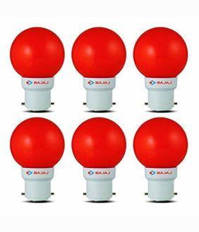 Bajaj 0.5W LED Bulbs (Red, Pack of 6) Price in India
