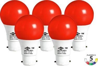 HPL Decor 1W LED Bulbs (Red, Pack of 5) Price in India