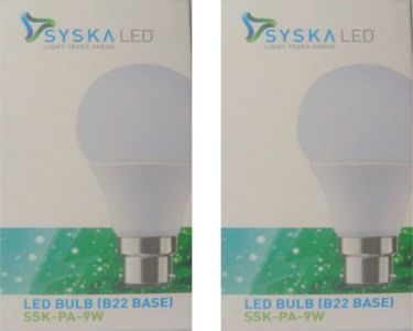 Syska 9W White LED Pa Bulbs (Pack Of 2) Price in India