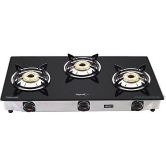 Pigeon Blackline Smart Manual Ignition Gas Cooktop (3 Burner)  Price in India
