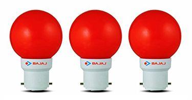 Bajaj Ping Pong B22 0.5W LED Bulb (Red, Pack of 3) Price in India