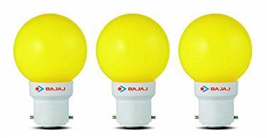 Bajaj Ping Pong B22 0.5W LED Bulb (Yellow, Pack of 3) Price in India