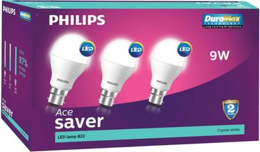 Philips 9 W LED B22 Cool Day Light Bulb White (pack of 3) Price in India