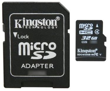 Kingston 32GB MicroSDHC Class 4 Memory Card (With Adapter) Price in India