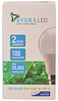 Syska 9 W B22 PAG LED Bulb (White, Plastic, Pack of 2) Price in India