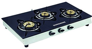 Sunshine Alfa Ss Toughened Glass Gas Cooktop (3 Burner) Price in India