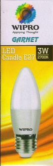 Wipro 3W Garnet E27 Base LED Candle Bulb (Warm White) Price in India