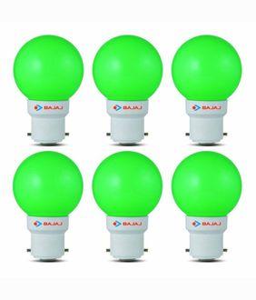 Bajaj Ping Pong 0.5W B22 Green LED Bulb (Pack of 6) Price in India
