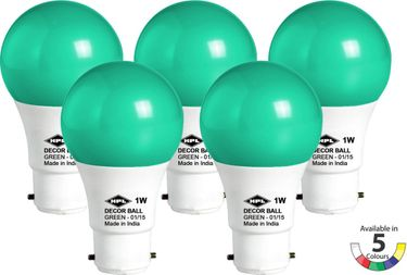 HPL 1 W LED Bulb (Green, Pack of 5) Price in India