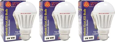 Infiniti Eco B22 5W LED Bulb (Warm White, Pack of 3) Price in India
