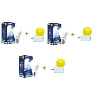 Philips  7W B22 LED Bulb (White, Pack of 3) With 3 Free 0.5W LED Bulbs Combo Price in India