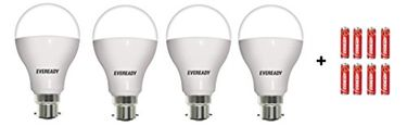 Eveready 12W LED Bulb (Cool Daylight, Pack of 4) With Free 8 Batteries Combo Price in India