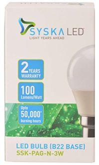 Syska 3W B22 Plastic LED Bulb (White, Pack of 2) Price in India