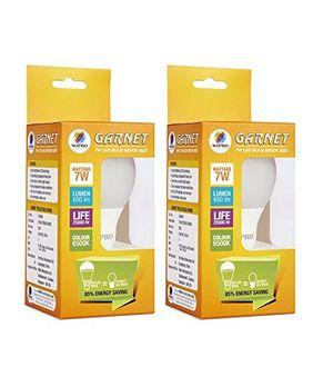 Wipro Garnet 7W 6500K White LED Bulb (Pack of 2) Price in India