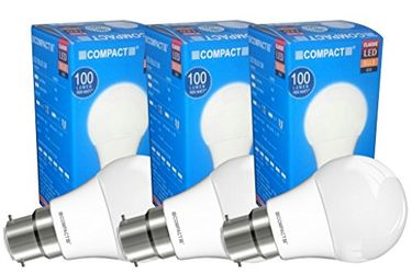 Compact 3W B22 LED Bulb (Warm White, Pack of 3) Price in India