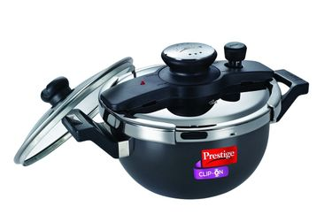 Prestige Clip-On Kadai Hard Anodized 3.5 L Pressure Cooker (With Glass Lid, Induction Base) Price in India