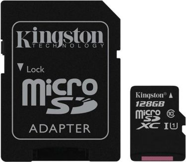Kingston 128GB MicroSDXC Class 10 (80MB/s) UHS-1 Memory Card (With Adapter) Price in India