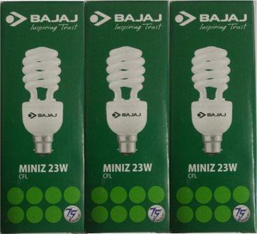 Bajaj 23W Spiral Miniz CFL Bulb (White, Pack of 3) Price in India