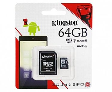 Kingston 64GB MicroSDHC Class 10 (80MB/s) Memory Card (With Adapter) Price in India