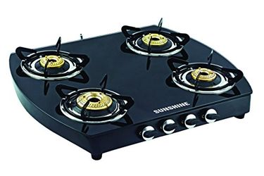 Sunshine Alfa Oval MS Toughened Glass Gas Cooktop (4 Burner) Price in India