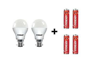 Eveready 9W B22 LED Bulb (Cool Day Light, Pack Of 2) With Free 4 Batteries Price in India