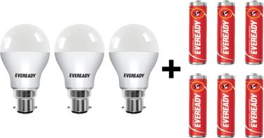 Eveready 9W B22 LED Bulb (Cool Day Light, Pack Of 3) With Free 6 Batteries Price in India
