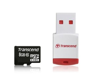 Transcend 8GB MicroSDHC Class 10 Memory Card (With Card Reader) Price in India